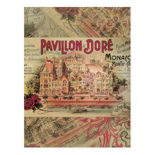 Vintage Fancy Monaco collage Monte Carlo Travel Postcards