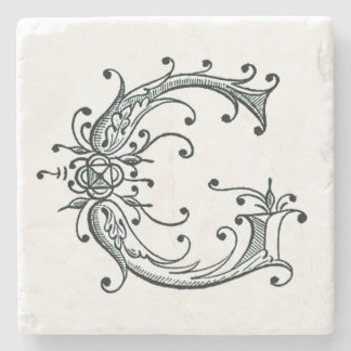 Vintage Fancy Monogram 'G' Stone Coaster