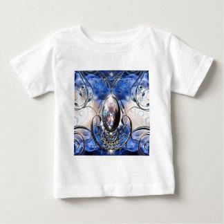 Vintage fancy ornate blue glass designer art baby T-Shirt