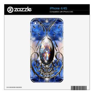 Vintage fancy ornate blue glass designer art skins for the iPhone 4