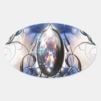 Vintage fancy ornate blue glass designer art oval sticker