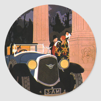 Vintage Fancy Travel, Elegant Convertible Car Classic Round Sticker