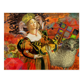 Vintage Fantasy Aries Gothic Whimsical Collage Postcard