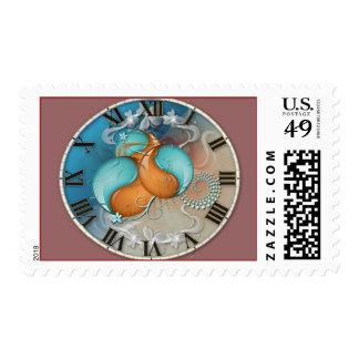 Vintage Fantasy Yin Yang Clock Stamps