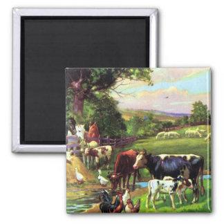 Vintage Farm 2 Inch Square Magnet