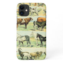 Vintage Farm Animal Print iPhone 11 Case
