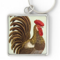 Vintage Farm Animals Chickens, Proud Rooster Keychain