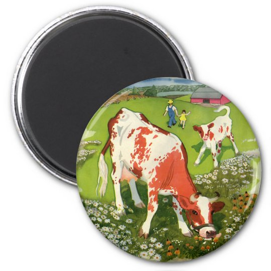 Vintage Farm Animals, Cows Grazing with Farmer Magnet