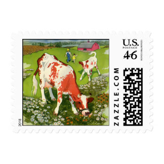 Vintage Farm Animals Farmer and Cows Grazing Postage Stamp