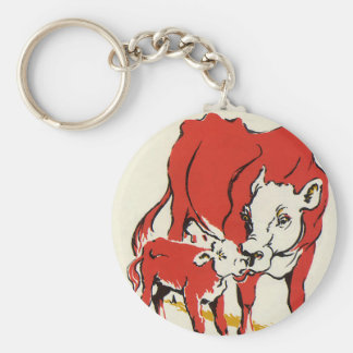 Vintage Farm Animals, Mama Cow with Her Baby Calf Key Chain