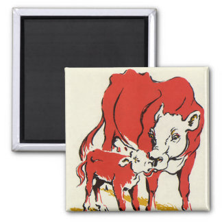 Vintage Farm Animals, Mama Cow with Her Baby Calf 2 Inch Square Magnet