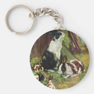 Vintage Farm Animals, Pet Rabbits Playing by Hutch Keychain