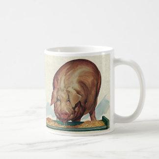 Vintage Farm Animals, Pig Eating Slop at a Trough Coffee Mugs