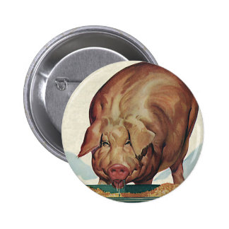 Vintage Farm Animals, Pig Eating Slop at a Trough Pinback Button