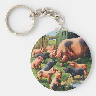 Vintage Farm Animals, Pig with Cute Baby Piglets Basic Round Button Keychain
