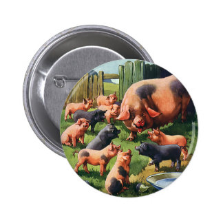 Vintage Farm Animals, Pig with Cute Baby Piglets Button
