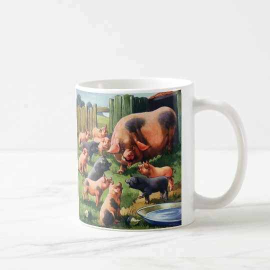 Vintage Farm Animals, Pig with Cute Baby Piglets Coffee Mug