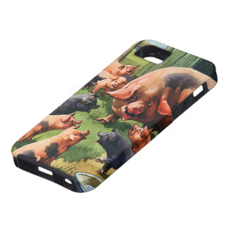 Vintage Farm Animals, Pig with Cute Baby Piglets iPhone SE/5/5s Case