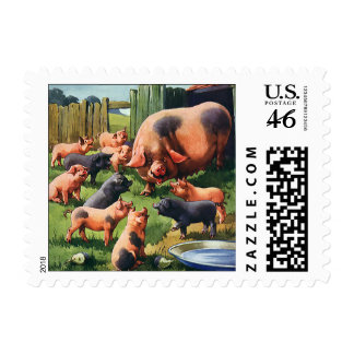 Vintage Farm Animals Pigs Sow with Baby Piglets Stamps