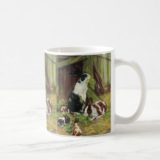 Vintage Farm Animals, Rabbits Playing on the Farm Mugs