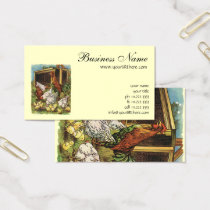 Vintage Farm Animals, Rooster, Hens, Chickens Business Card
