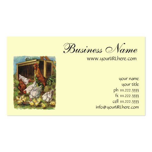 Vintage Farm Animals, Rooster, Hens, Chickens Business Card Template