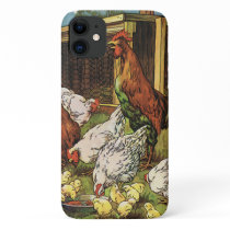 Vintage Farm Animals, Rooster, Hens, Chickens iPhone 11 Case