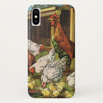 Vintage Farm Animals, Rooster, Hens, Chickens iPhone XS Case