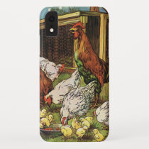 Vintage Farm Animals, Rooster, Hens, Chickens iPhone XR Case