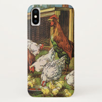 Vintage Farm Animals, Rooster, Hens, Chickens iPhone X Case