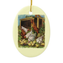 Vintage Farm Animals, Rooster, Hens, Chickens Ceramic Ornament