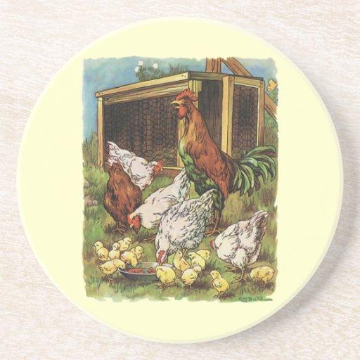 Vintage Farm Animals, Rooster, Hens, Chickens Beverage Coaster