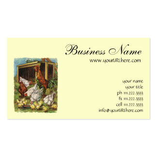 Vintage Farm Animals, Rooster, Hens, Chickens Double-Sided Standard Business Cards (Pack Of 100)