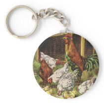 Vintage Farm Animals, Rooster, Hens, Chickens Keychain