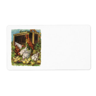 Vintage Farm Animals, Rooster, Hens, Chickens Label
