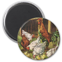 Vintage Farm Animals, Rooster, Hens, Chickens Magnet