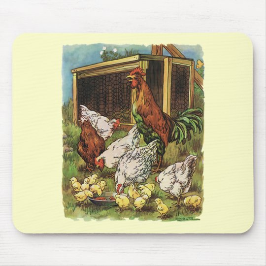 Vintage Farm Animals, Rooster, Hens, Chickens Mouse Pad