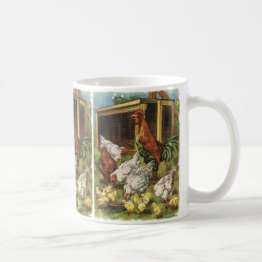 Vintage Farm Animals, Rooster, Hens, Chickens Classic White Coffee Mug