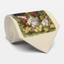 Vintage Farm Animals, Rooster, Hens, Chickens Neck Tie