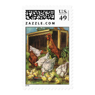 Vintage Farm Animals, Rooster, Hens, Chickens Postage