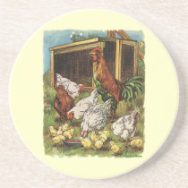 Vintage Farm Animals, Rooster, Hens, Chickens Sandstone Coaster