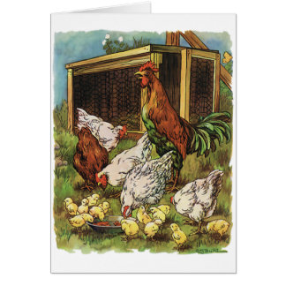 Vintage Farm Animals, Rooster, Hens, Chickens Stationery Note Card