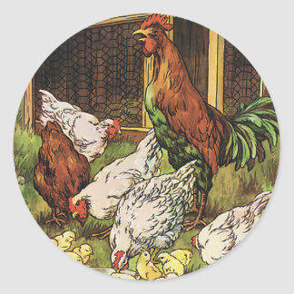 Vintage Farm Animals, Rooster, Hens, Chickens Classic Round Sticker