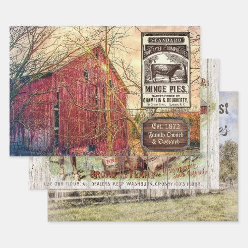 VINTAGE FARM & BARN HEAVY WEIGHT DECOUPAGE PRINTS WRAPPING PAPER SHEETS