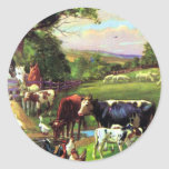 Vintage Farm Classic Round Sticker