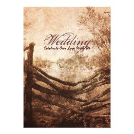vintage farm fence western country wedding custom invitation