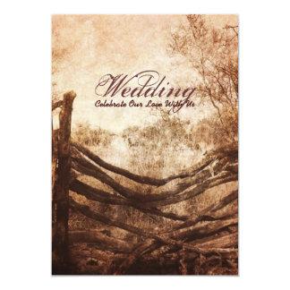 vintage farm fence western country wedding 5x7 paper invitation card