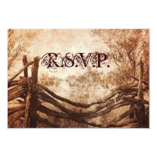 vintage farm fence western country wedding RSVP Personalized Announcements