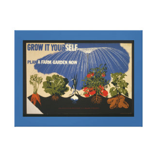 Vintage Farm Gardening Poster on Canvas