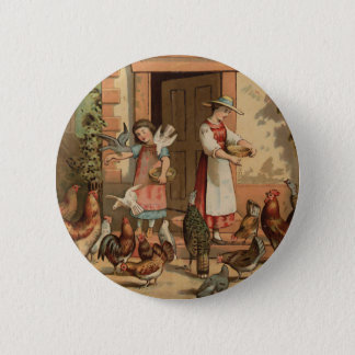 Vintage Farm House mother and Daughter Button
